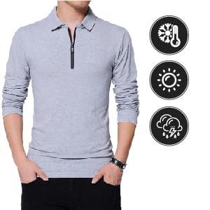 men cotton polo zip collar full sleeves t-Shirt all season wear