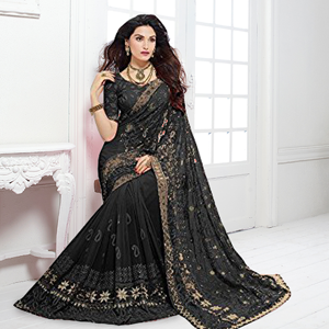 saree, chiffon, sari, craftsvilla, embroidery, lace border