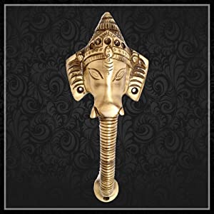 Two Moustaches Brass Crown Ganesha Door Handle 8 inches