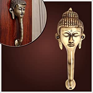 Two Moustaches Brass Buddha Face Door Handle