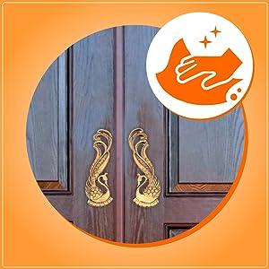 Two Moustaches Peacock Design Brass Door Handle Pair (2 pcs)