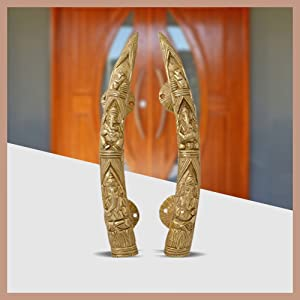 Two Moustaches Tuskar Style Ganesha Carving Brass Door Handle Pair (2 pcs)