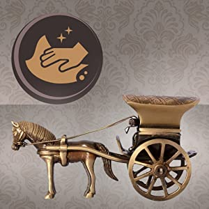 Two Moustaches Horse Cart Brass Showpiece