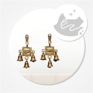 Two Moustaches Brass Shubh Labh Hanging Bells Set