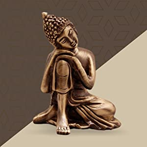 Two Moustaches Brass Buddha Resting Showpiece