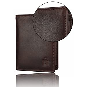 Genuine leather premium stylish slim durable bi fold wallet for men and boys