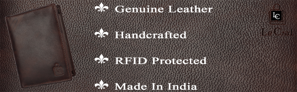 Le Craf Handcrafted Premium Genuine Leather Rfid Protected wallet for men and boys