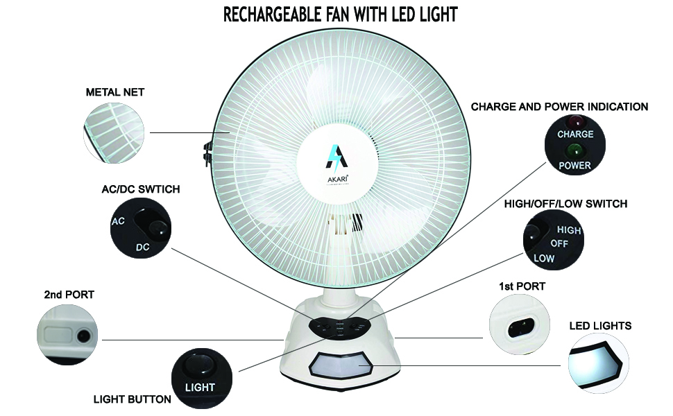 Buy Akari Ak 8012 12 Rechargeable Ac Dc Table Fan With Emergency