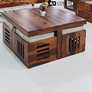 Wooden Coffee Table with 4 Stools for Living Room | Matt Polish Finish, with Cushion