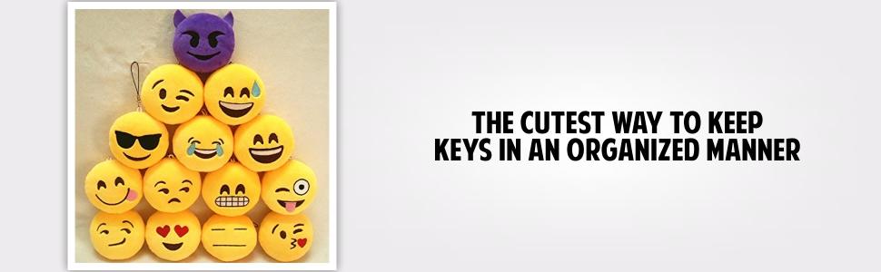 Jiada Round Emoji Face Plush Soft Cushion Keychain Return Gifts