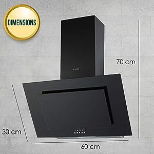 Elica 60 cm 900 m3/hr Chimney (CRYSTAL 60 PB BLACK, 2 Cassette Filters, Black)