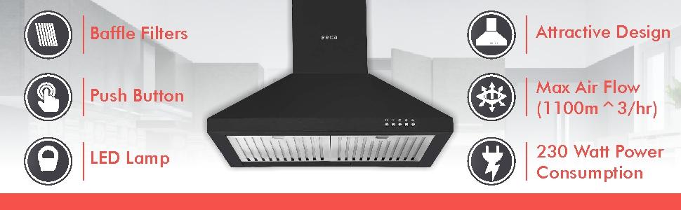 Elica 60 cm 1100 m3/hr Chimney (AH 260 BF Nero, 2 Baffle Filters, Push Button Control, Black)