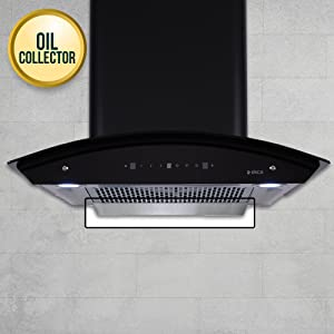 Elica 60 cm 1200 m3/hr Filterless Auto Clean Chimney with Free Installation Kit WDFL HAC TOUCH 60 MS