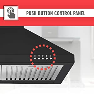Elica 60 cm 1100 m3/hr Chimney (AH 260 BF Nero, 2 Baffle Filters, Push Button Control, Black