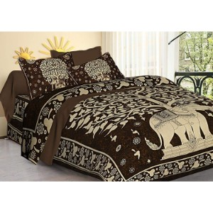 Tiger Exports Elephant Print Tradition Double Bedsheets
