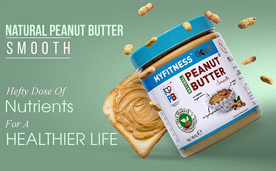 MYFITNESS Natural Peanut Butter Smooth  1Kg Unsweetened