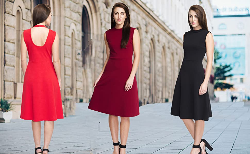 Addyvero Women Halterneck A-Line Dress