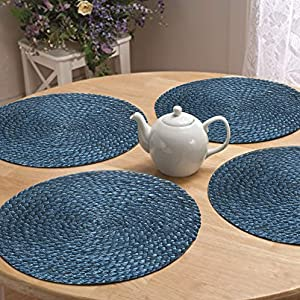 Jute Braided Blue Placemat Set