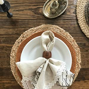 Jute placemat dining table setting