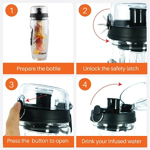 InstaCuppa Fruit Infuser Water Bottle 1 Litre Polar Edition Simple To Use