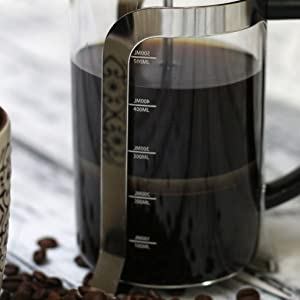 InstaCuppa French Press Coffee Maker with Measurement Markings on Glass Carafe