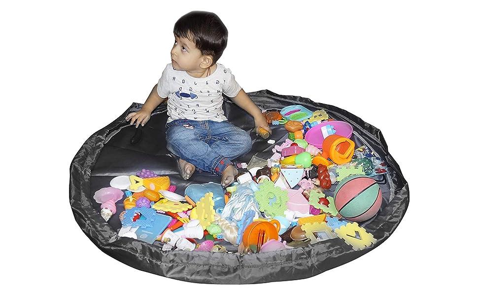 Large Protable Toy Storage Bag Tidy Organizer Waterproof 2 in 1 Kids Play Mat