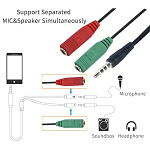 RiaTech 3 5mm Audio Jack to Headphone Microphone Splitter Converter Adaptor  Cable (Specially Design for Mobile and Tablet Only)