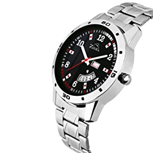watches men watches wrist watches day and date stainless steel black dial formal casual stylish
