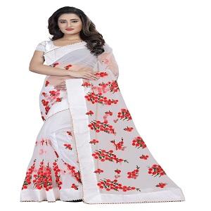 white net saree
