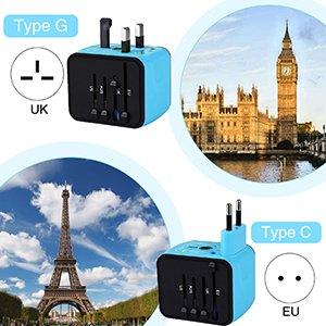 tablet travel type uk universal us usb ve wall wide world worldwide