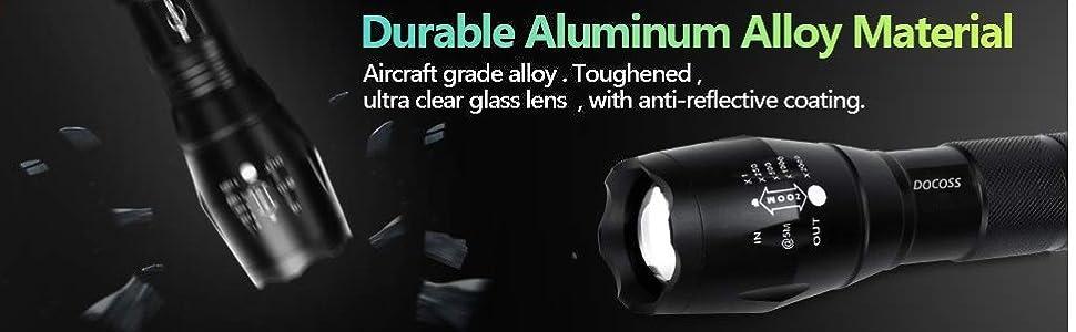 Metal LED Torch Flashlight 2000 Lumens, XML T6WaterResistance 5Modes Adjustable Focus