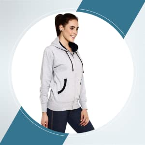 GOODTRY Women's Cotton Hoodies-Grey Melange