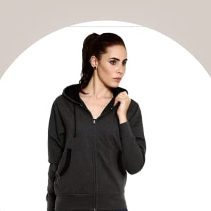 GOODTRY Women's Cotton Hoodies-Charcoal Melange