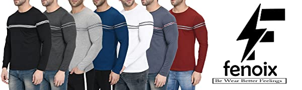 Men`s Cotton Round Neck Strip T-shirt by Fenoix – Stay suave, stay stylish!