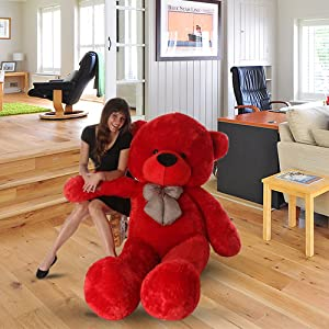 Cherry Red Teddy Bear with Neck Bow