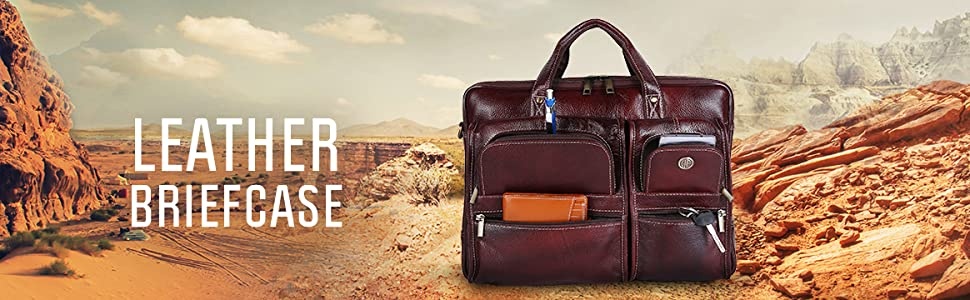 Leather 20 Ltrs Brown Briefcase