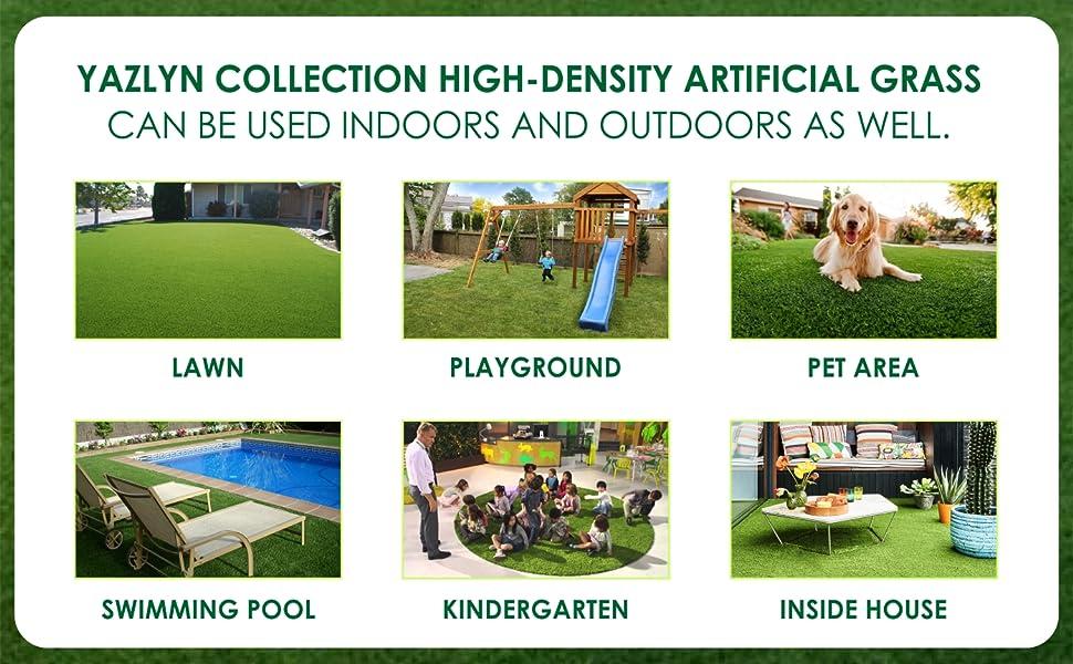 Yazlyn Collection Artificial Grass CarpetMat Doormat Lawnmat Balcony Terrace Roof Garden 3.3 10 Feet