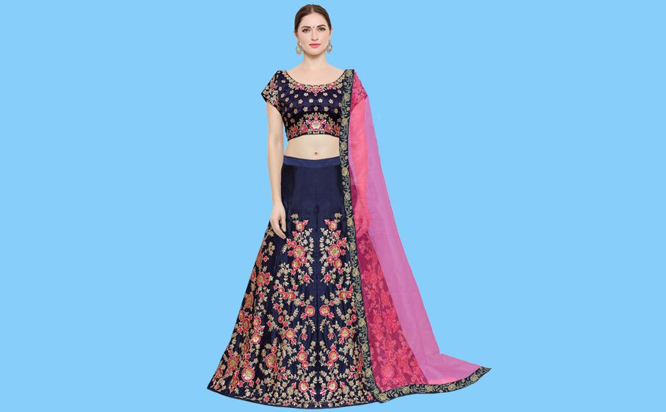0a0a63d04066d7 KEDARFAB Women s Taffeta Silk Lehenga Choli with Blouse Piece (Blue ...