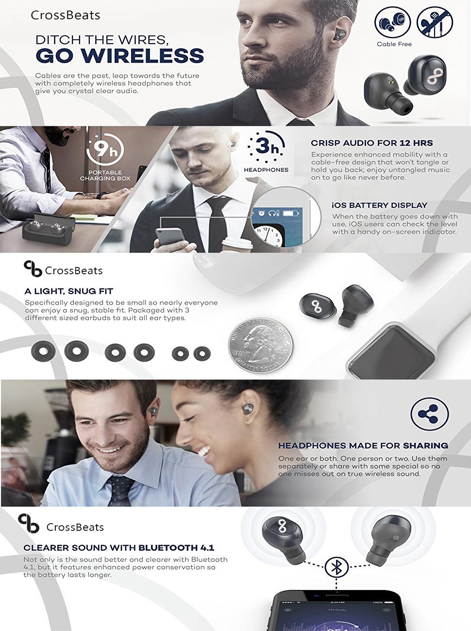Crossbeats Soul True Wireless Bluetooth Earphones With Hands Free Headset 41 Handsfree Headphones Earbud Mini L1 Sj0048 Most Advanced Mic Tws
