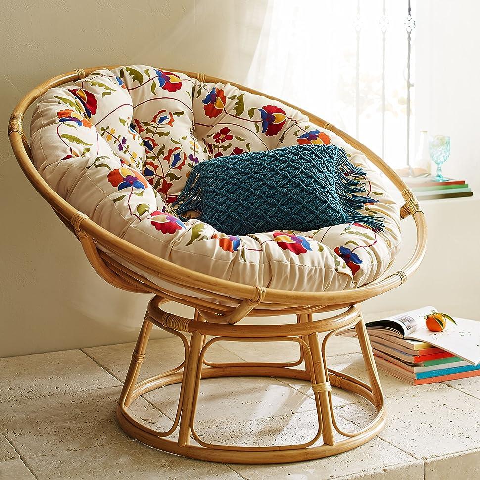 Good IRA Outdoor Cane Rattan Papasan Chair With Cushion