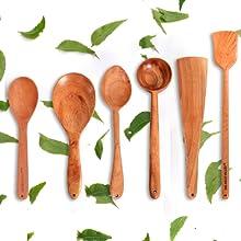 Neem Wood wooden spatulas roti dosa paratha cooking serving cookware