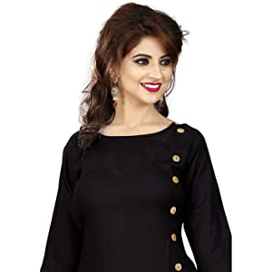 dark, black, colour, with, wooden, button, buttons, design, stitched, ready-made, ready, made, kurti