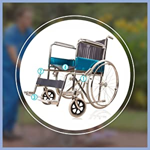 Folding Steel Patient Wheelchair