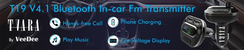 bluetooth fm transmitter car handsfree phone charging voltage display play music