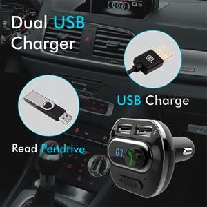 dual car charger car usb pen drive player