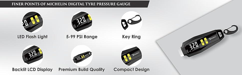 Michelin 12290 Tyre Pressure Gauge with Keyring (Black)