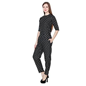 30a86dbab0c My Swag Women s Crepe Polka Dot Jumpsuit  Amazon.in  Clothing ...