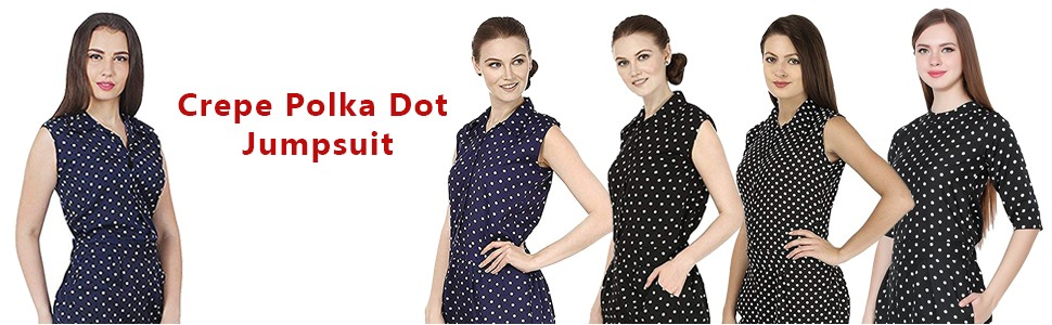e91b9a48771 My Swag Women s Crepe Polka Dot Jumpsuit  Amazon.in  Clothing ...