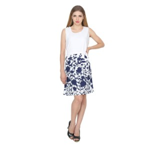 My Swag Womwn's Round Neck Knee Length Floral Printed A-line Dress