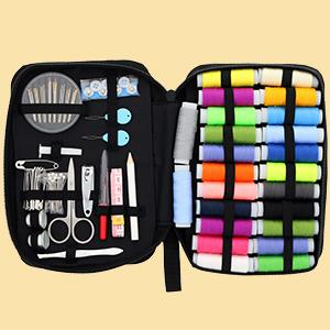 premium repair sewing case, colored threads, accessories, scissors,